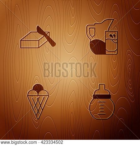 Set Baby Milk In A Bottle, Butter Butter Dish, Ice Cream Waffle Cone And Milk Jug Or Pitcher And Gla