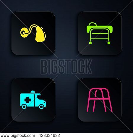 Set Walker, Hearing Aid, Emergency Car And Stretcher. Black Square Button. Vector