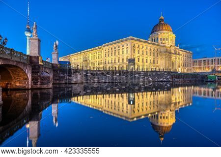The Reconstructed Berlin City Palace With The Television Tower At Dusk