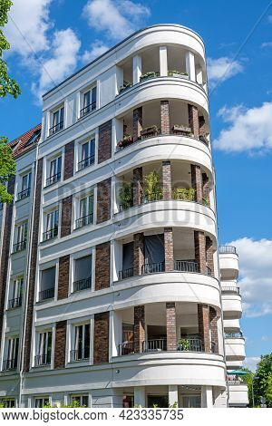 Modern White Upscale Apartment Block Seen In Berlin, Germany