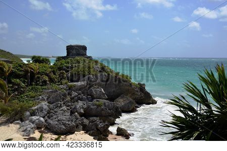 View Of The Ruins Of The Ancient City In The Mexican Mayan Riviera