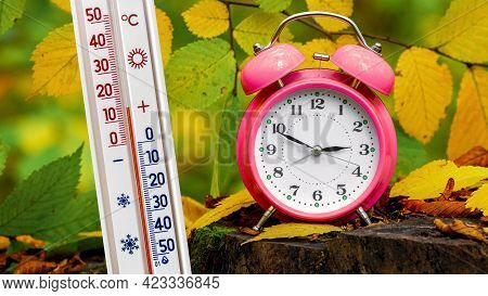 Thermometer And Clock In The Woods Among The Autumn Leaves. The Thermometer In Nature Shows A Temper