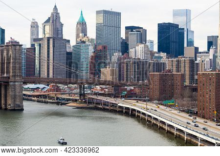 Lower Manhattan And Freeway Along East River Waterfront, New York City