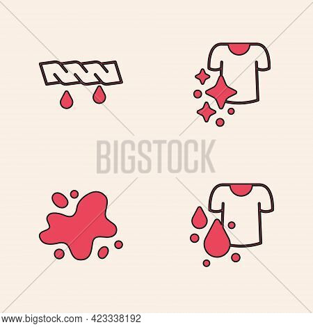 Set Dirty T-shirt, Squeeze Clothes, Drying And Water Spill Icon. Vector