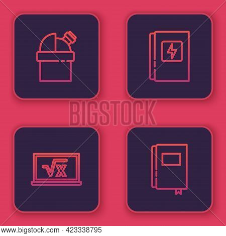 Set Line Astronomical Observatory, Square Root Of X Glyph, Electrical Panel And Book. Blue Square Bu