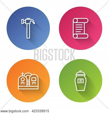 Set Line Hammer, Decree, Parchment, Scroll, Grave With Tombstone And Funeral Urn. Color Circle Butto