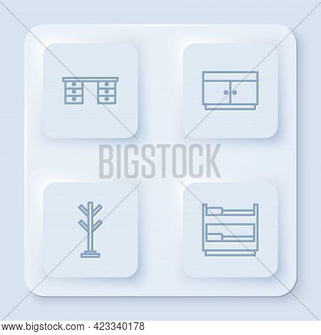 Set Line Office Desk, Chest Of Drawers, Coat Stand And Bunk Bed. White Square Button. Vector
