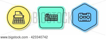 Set Line Retro Typewriter, Music Synthesizer And Audio Cassette Tape. Colored Shapes. Vector