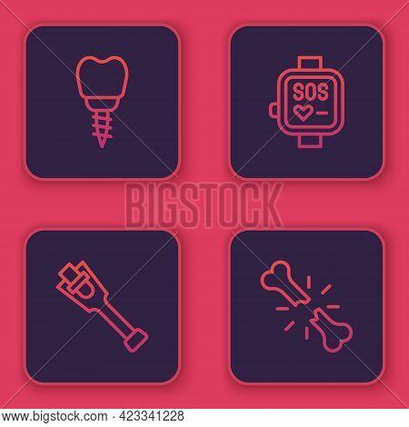 Set Line Dental Implant, Prosthesis Leg, Smart Watch And Human Broken Bone. Blue Square Button. Vect