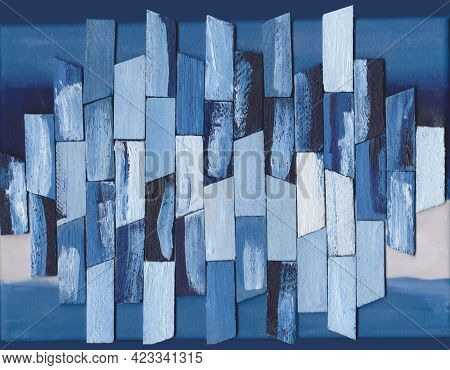 Pano In Marine Style Small Planks Of Blue And White Color