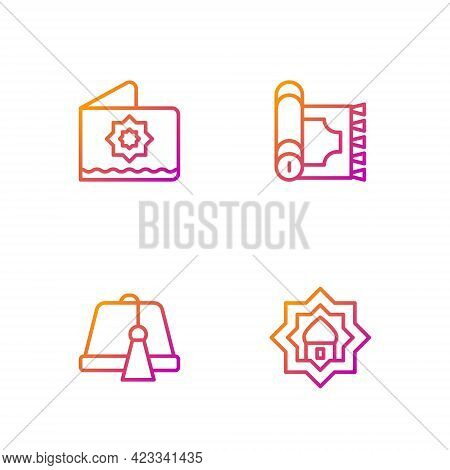 Set Line Muslim Mosque, Turkish Hat, Octagonal Star And Traditional Carpet. Gradient Color Icons. Ve