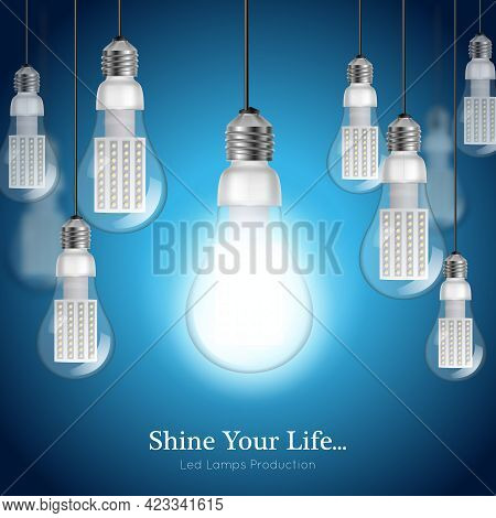Blue Background With Hanging Turned On And Off Led Lightbulbs Realistic Vector Illustration