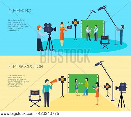 Filmmaking Movie Scene Shooting 2 Flat Horizontal Banners Set With Director Cameraman And Assistant