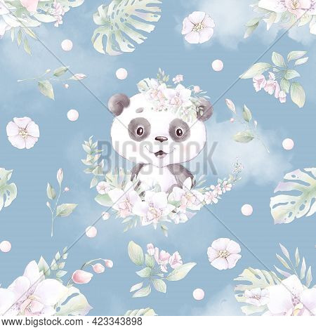 Seamless Pattern. Cute Cartoon Panda With Flowers And Balloons