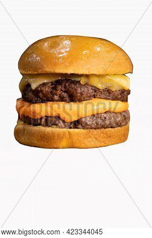 Hamburger Isolated On A White Background. Cheeseburger.