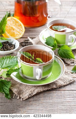 Nettle Tea. Fresh And Dry Stinging Nettle. Folk Remedy. The Source Of Vitamins.