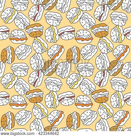 Seamless Background With Cheeseburger Or Hamburger. Fast Food.