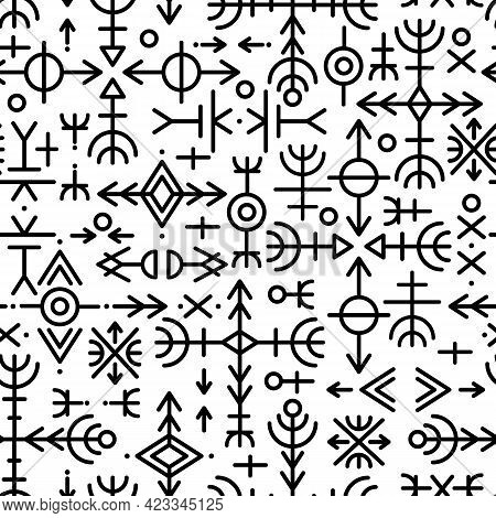 Ethnic Norwegian Icelandic Seamless Pattern. Runic Talismans Of The Vikings And Northern Peoples. Ma