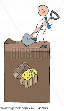 Stickman Businessman Character Digging The Ground And Big Treasure Under The Soil, Vector Cartoon Il