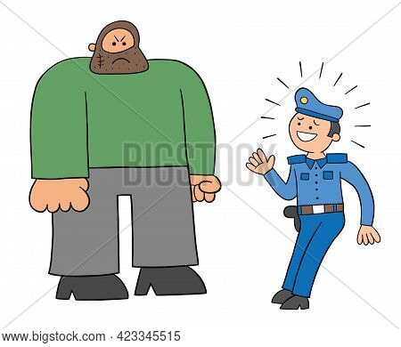 Cartoon Police Man Afraid Of The Big Man, Vector Illustration. Black Outlined And Colored.