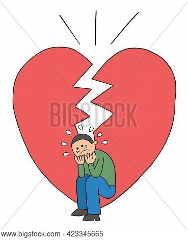 Cartoon Man Is Heartbroken And Very Sad, Vector Illustration. Black Outlined And Colored.