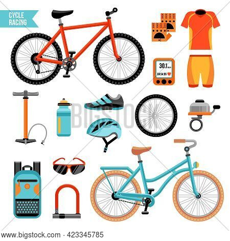 Bike And Cycling Accessories Colored Icons Set With Biker Uniform Elements Pump Wheel Bicycle Bell I