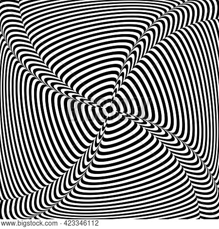 Lines Pattern With 3d Illusion Effect. Abstract Op Art Design. Vector Illustration.