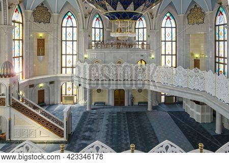 Kazan, Russia - May 19, 2021. View Of The Prayer Hall For Believers Of The Kul Sharif Cathedral Mosq