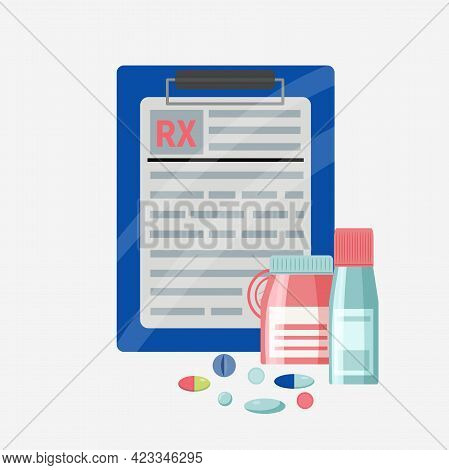 Rx Form For Medicines And Jars, Blisters, Pills