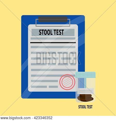 Stool Test Plastic Jar And Medical Analysis Form