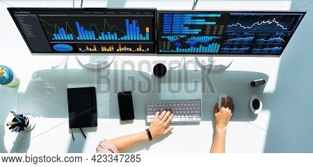 Analyst Woman Looking At Business Data Analytics Dashboard