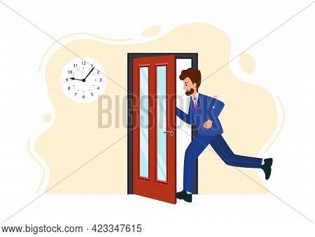 Businessman Runs Into Open Door. Human Is Running From Work. Emergency Exit.