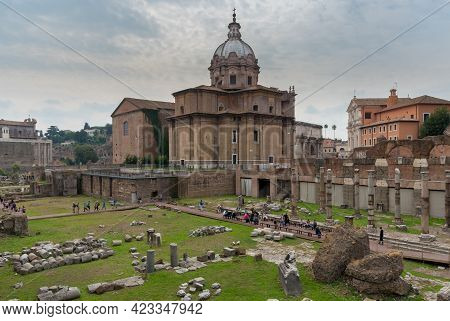 Rome, Italy, October 1 2017: Cityscape Image Of Famous Ancient Roman Forum In Rome, Italy.