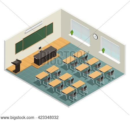 Lecture Room With Big Chalk Board Desks Massive Black Table For Lecturer And Tribune Isometric Poste