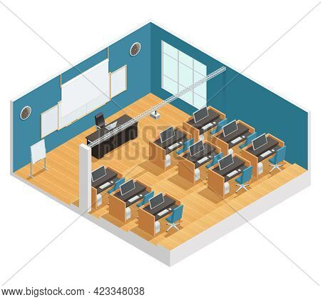Interior Poster Of Modern Classroom With Computers Desks Chalkboard And Magnetic Board Projector And