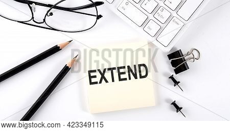 Text Extend On Sticker With Keyboard , Pencils And Office Tools