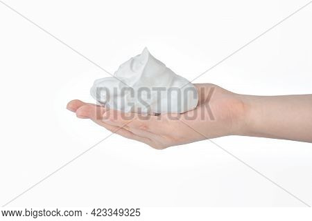 White Bubbled Foam In Hands, Hair Foam, Foam For Man, White Textured, Hand Full Of Soap Isolated On