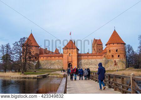 Trakai, Lithuania - February 16, 2020: Landscape Of Trakai Island Castle, Lake And Wooden Bridge, Vi