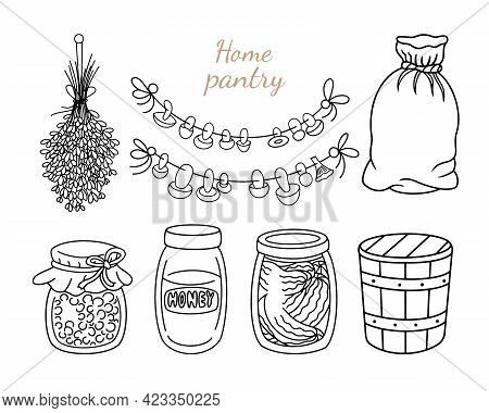 Home Pantry Doodle Set. Preserved Food, Glass Jar Of Jam, Canned Honey And Pickles, Wooden Bucket, B