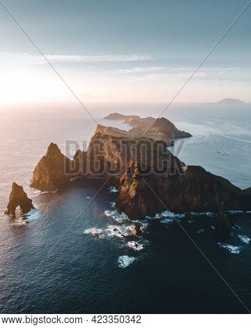 Landscape Of Madeira Island Ponta De Sao Lourenco, Aerial Sunrise Portugal. High Quality Photo