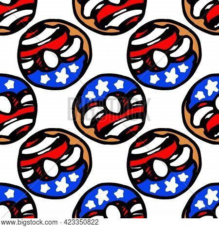 Vector Seamless Pattern Of A Donut With Icing With The Symbols Of The Us Flag, White Stars On A Blue