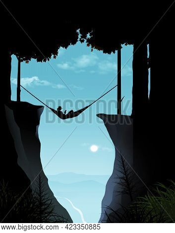 A Woman Relaxes In A Hammock Suspended Between Trees But Hanging Over A Deep Ravine. Element Of Dang