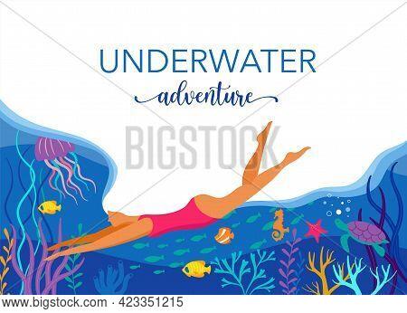 Woman Diving With Wild Marine Animals In Ocean. Sea World, Cute Underwater Creatures, Coral Reef, Un