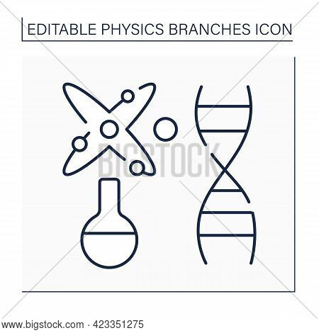 Biophysics Line Icon. Nature Research Through Physical And Physico-chemical Phenomena. Origin, Forma