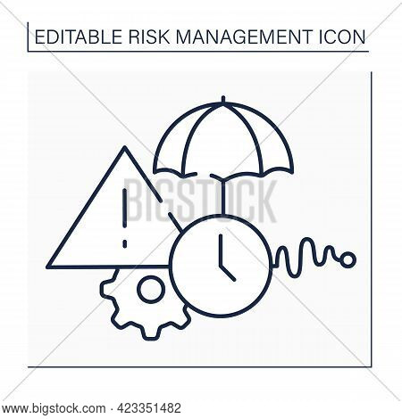 Routine Risks Line Icon. Procedures And Activities That Are Carried Out Formally As Current Work Of