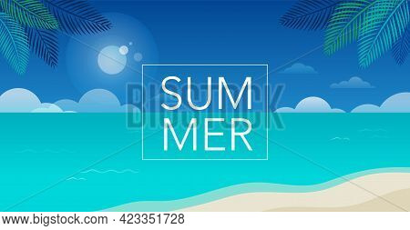 Summer Time Fun Concept Design. Creative Background Of Landscape, Sunny Panorama Of Sea And Beach. S