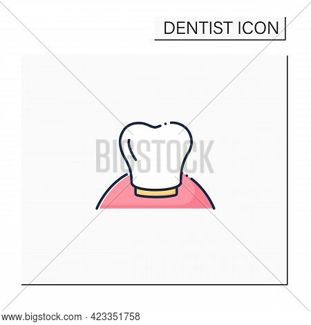 Oral Implantology Color Icon. Cosmetic Dentistry Procedures Include Dental Implants, Dental Crowns,