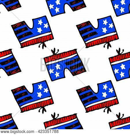 Vector Seamless Pattern Of Shorts, With A Bow On An Elastic Band, With A Pattern Of The Symbols Of T