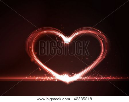 Overlying semitransparent heart shapes with light effects form a glowing frame in shades of red on a dark red background. Copy space.