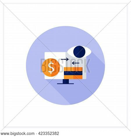 Assets Monitoring Flat Icon.monitoring Accounts. Logs Information About Tangible Assets On Laptop.bu